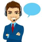 Hombre del operador de centro de atención telefónica ilustración del vector
