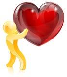 Hombre del oro del amor del corazón Foto de archivo