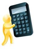 Hombre del oro que sostiene la calculadora Foto de archivo
