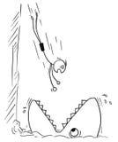 Hombre del palillo del vector de la historieta que salta en el inst grande de Mounth de los pescados del tiburón Foto de archivo