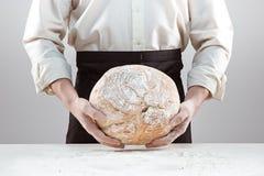 Hombre del panadero que sostiene la barra de pan orgánica rústica en manos Imagen de archivo