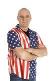Hombre del patriota que desgasta una blusa de Estados Unidos fotografía de archivo libre de regalías