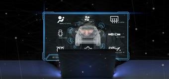 Hombre del pirata informático que lleva a cabo una representación smartcar del concepto 3d fotos de archivo libres de regalías