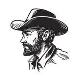 Hombre del retrato en sombrero de vaquero Ejemplo del vector del bosquejo libre illustration