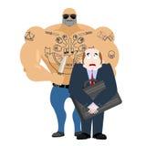 Hombre del robo Criminal con el cuchillo que roba al hombre de negocios con suitca ilustración del vector