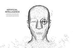 Hombre del robot o del cyborg con la inteligencia artificial AI Reconocimiento facial exploraci?n biom?trica, exploraci?n 3D Iden stock de ilustración