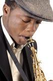 Hombre del saxofón imagen de archivo