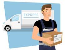 Hombre del servicio de entrega con una caja en sus manos y libre illustration