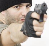 Hombre del Shooting Fotos de archivo libres de regalías