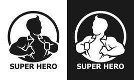 Hombre del superhéroe que abre su icono del vector de la camisa fotos de archivo