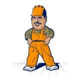Hombre del trabajador del constructor de la historieta Imagenes de archivo