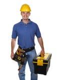 Hombre del trabajador joven con la caja de herramientas Imagenes de archivo