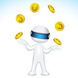 Hombre del vector 3d que hace juegos malabares con la moneda de oro ilustración del vector