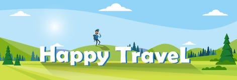 Hombre del viajero que camina sobre bandera al aire libre del turismo del senderismo del fondo de la montaña stock de ilustración