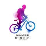 Hombre del Watercolour que monta una bici Foto de archivo libre de regalías