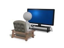 Hombre delante de la TV Fotografía de archivo libre de regalías