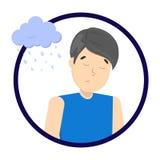 Hombre deprimido triste con la nube lluviosa arriba ilustración del vector