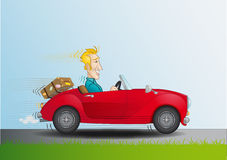 Hombre + descapotable. Smiling man driving a red car Royalty Free Stock Images