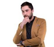 Hombre desconcertado barbudo en chaqueta Imágenes de archivo libres de regalías