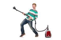 Hombre divertido con el aspirador Fotos de archivo libres de regalías