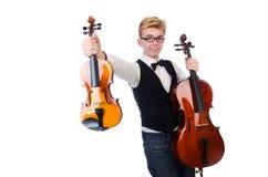 Hombre divertido con el violín Fotos de archivo libres de regalías