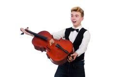Hombre divertido con el violín Fotografía de archivo