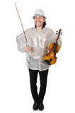Hombre divertido con el violín Fotos de archivo