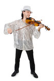 Hombre divertido con el violín Fotografía de archivo libre de regalías