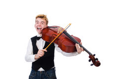 Hombre divertido con el violín Imágenes de archivo libres de regalías