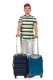 Hombre divertido con la maleta aislada Imagen de archivo