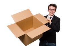 Hombre divertido con las cajas foto de archivo libre de regalías