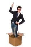 Hombre divertido con las cajas imágenes de archivo libres de regalías