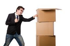Hombre divertido con las cajas Imagen de archivo libre de regalías