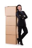 Hombre divertido con las cajas fotografía de archivo libre de regalías