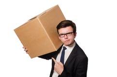 Hombre divertido con las cajas aisladas Foto de archivo libre de regalías