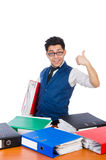 Hombre divertido con las porciones de carpetas Imagen de archivo libre de regalías