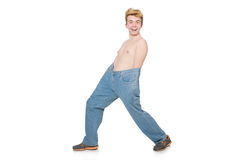 Hombre divertido con los pantalones imagenes de archivo