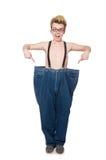 Hombre divertido con los pantalones imagen de archivo