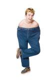 Hombre divertido con los pantalones Foto de archivo