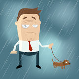 Hombre divertido de la historieta con el perro en un día lluvioso Imágenes de archivo libres de regalías