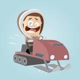 Hombre divertido de la historieta con moto de nieve Imágenes de archivo libres de regalías
