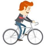 Hombre divertido de la oficina del inconformista que monta una bici Estilo plano Foto de archivo