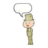 hombre divertido del hobo de la historieta con la burbuja del discurso stock de ilustración