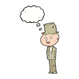 hombre divertido del hobo de la historieta con la burbuja del pensamiento libre illustration
