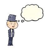 hombre divertido del hobo de la historieta con la burbuja del pensamiento stock de ilustración