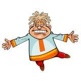 Hombre divertido del personaje de dibujos animados en el baile nacional ruso del vestido stock de ilustración