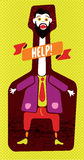 Hombre divertido que grita en la botella Ilustración del vector Foto de archivo libre de regalías