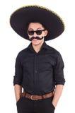 Hombre divertido que lleva el sombrero mexicano del sombrero aislado Imagen de archivo