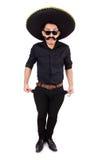 Hombre divertido que lleva el sombrero mexicano del sombrero aislado Fotografía de archivo