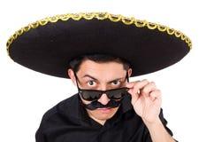 Hombre divertido que lleva el sombrero mexicano del sombrero aislado Imagenes de archivo